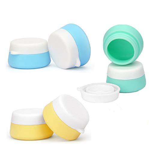 6 Pcs 10 ml Rechargeable Silicone Voyage Cosmétique Conteneur Pots Bocal avec Couvercles Scellés Pour Crèmes et Cosmétiques Maquillage Crèmes Lotions