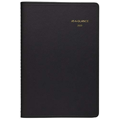"AT-A-GLANCE 2020 Daily Planner/Appointment Book, 5-1/2"" x 8-1/2"", Small, Black (708000520)"
