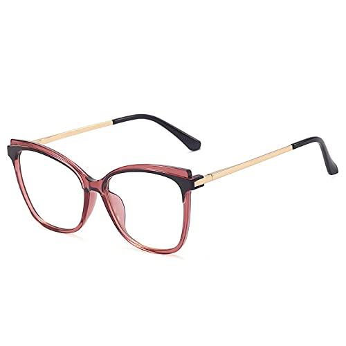 Gafas Luz Azul,Fashion Cat Eye Tr90 Montura De Anteojos Ópticos para Mujer, Gafas Transparentes Anti Luz Azul, Montura De Anteojos para Hombre con Bisagra De Resorte Retro, UVA Púrpura, Talla Única