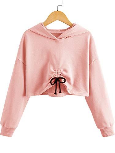 Meilidress Kids Girl's Crop Tops Hoodies Long Sleeve Cute Drawstring Pullover Sweatshirts (Pink, 9-10 Years)