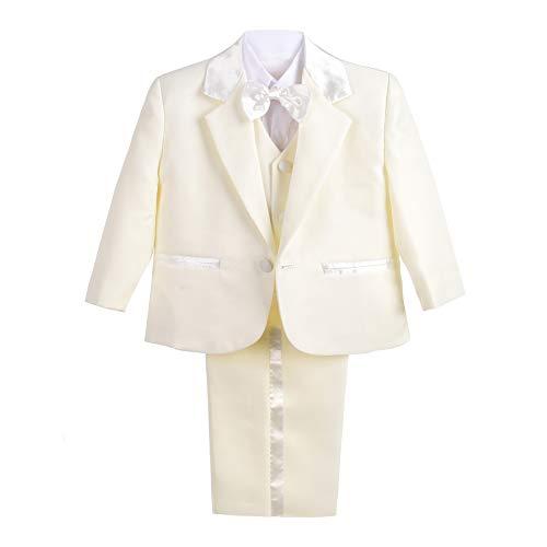 Lito Angels Baby-/Jungen-Outfit, 5-teiliger Anzug für Hochzeit, Taufe Gr. 2-3 Jahre, elfenbeinfarben