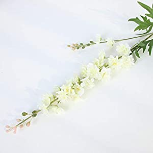 WWWL Artificial Flowers Artificial Flowers Delphinium Fake Violet DIY Orchid Floral Fake Flowers Bouquet Arrangement Wedding Home Decor Fall Beige