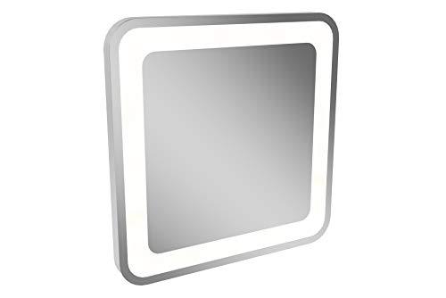 Lanzet LED Spiegel M9 / Wandspiegel mit umlaufender LED-Beleuchtung/Maße (B x H x T): ca. 60 x 60 x 4 cm/LED Badspiegel mit 3 Helligkeitsstufen/Spiegel mit Beleuchtung fürs Bad oder Gäste WC