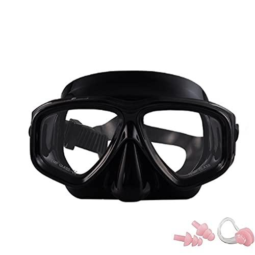 KAKAF Gafas de buceo, gafas de buceo, gafas de buceo, antifugas, protección UV, correa de silicona ajustable, máscara de buceo con pinza para la nariz y tapones para los oídos