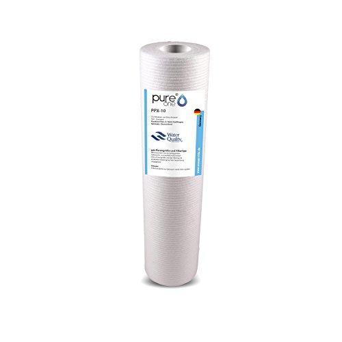 PureOne PPX-10 (1µ bis 200µ) Polypropylene Blockfilter für 10 Zoll Wasserfilter Gehäuse. Bewährter Sedimentfilter. Brunnen, Zisterne, Hauswasserwerk. Extra große Filterfläche - Sehr Ergiebig