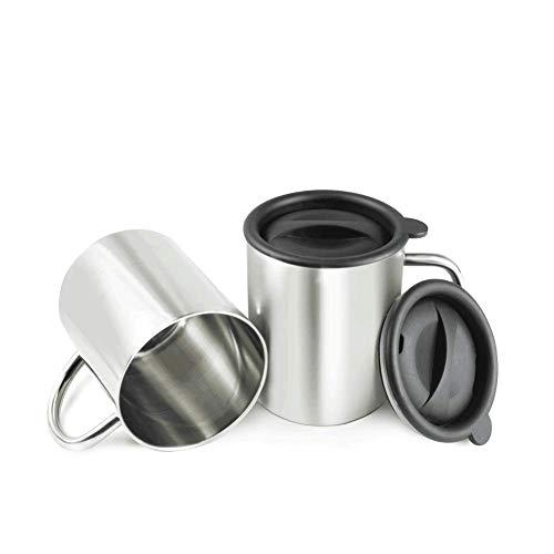 BeGrit 2 Stück Edelstahl-Kaffeebecher doppelwandig Becher Edelstahlbecher 400ml Edelstahl Tasse mit henkel Deckel für Wandern Trekking Arbeit