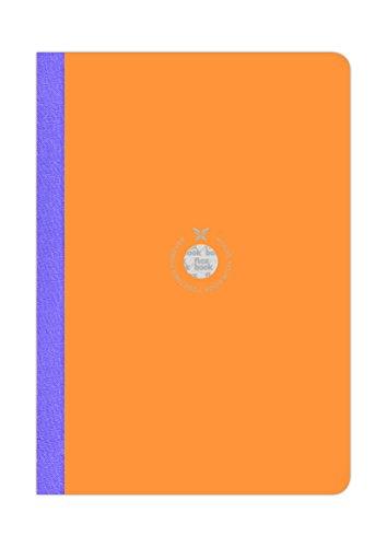 Flexbook Notizbuch Kladde patentierte flexible Bindung, orange mit lila Heftleiste 17x24cm