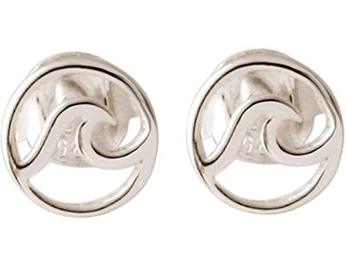 Gemshine Ohrringe Maritim Nautics Ohrstecker Surf Wellen Meer aus 925 Silber, hochwertig vergoldet oder rose im Navy Stil - Qualitätvoller Schmuck Made in Spain, Metall Farbe:Silber