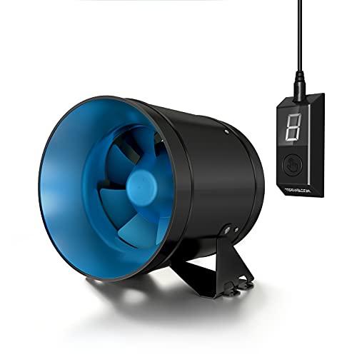 TerraBloom ECMF-150, Quiet 6' Inline Duct Fan with Variable Speed Controller – Ventilation Exhaust...