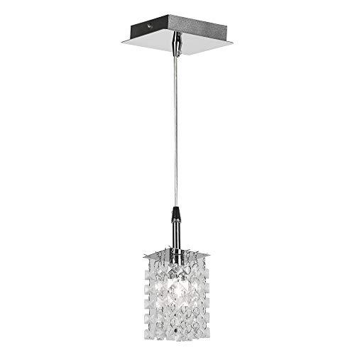 Lámpara colgante en cromo y plata con cristales