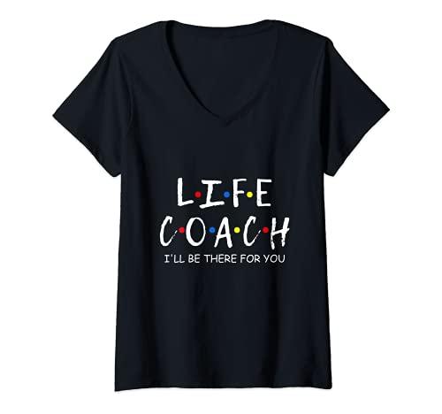 Mujer Entrenador de la vida estaré allí para usted Mentor, Entrenador de Salud Camiseta Cuello V