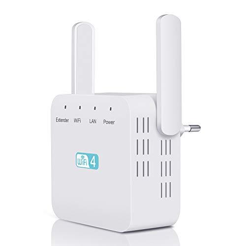 Kosiy WLAN Repeater WLAN Verstaerker 300Mbit/s, WLAN verstärker 2,4GHz (mit Dual Antenne, LAN Port, EU Stecker) WLAN Repeater Wireless, verbinden 10 Gerät