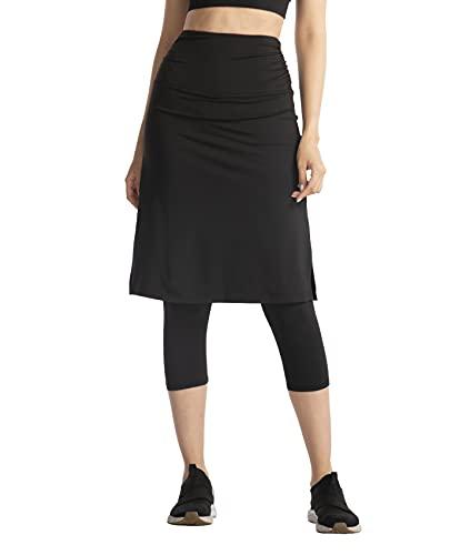 Cityoung Womens High Waist Long Skirted Capri Pants Hidden Pocket Workout Active Modest Skirt Leggings l bk Black