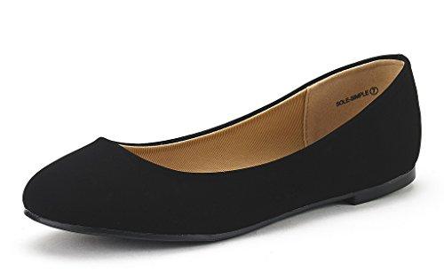DREAM PAIRS Women's Sole-Simple Black Nubuck Ballerina Walking Flats Shoes - 5 M US