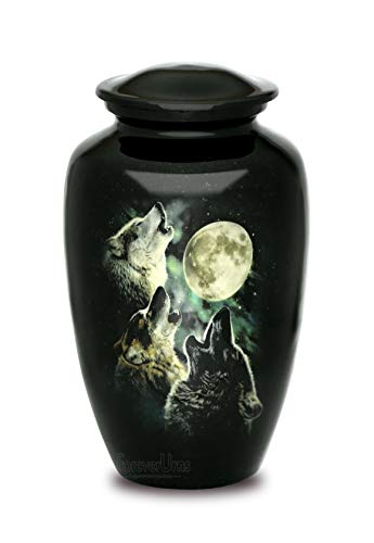 "Adult Cremation URNS for Ashes- Adult Classic Wolf Pictured Cremation Urn for Human Ashes, Completely Handicrafted with Velvet Protection Bag, Size 10.5"" H x 6.25"" D with Volume 200 Cu. in."
