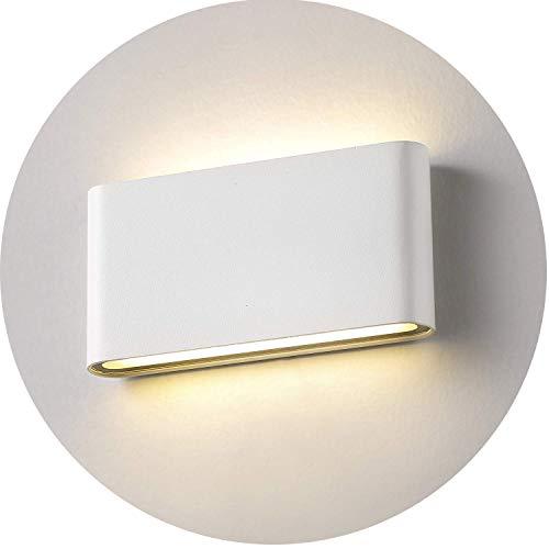 Topmo-plus 12w lámpara de pared LED impermeable IP65 moderno apliques aluminio apliques llevó exterior Arriba y Abajo Diseño Bañadore de vestíbulo 1320LM (Blanco/blanco cálido)