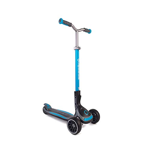 Dongxiao Patinete Kids Kick Scooter Ajustable Lean-to-Steer Manillar PU Light Up Rueles para Niños de 3 A 14 Años (Color : Blue)