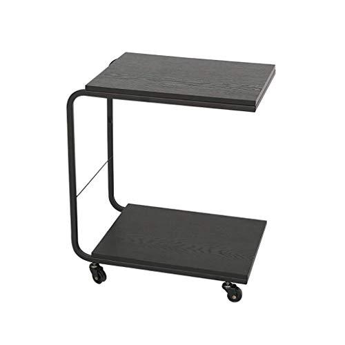 XUSHEN-HU Carro de comedor móvil de hierro para mesita de noche o sala de estar (negro, tamaño: 47,4 x 54,7 x 32 cm) cocina