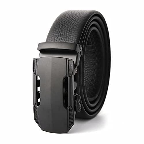 SJZD Cinturón de Hombre, cinturón de Coche Deportivo Nuevo, cinturón con Hebilla automática de aleación, cinturón de Negocios Informal para Hombre Negro (3,5x115cm)