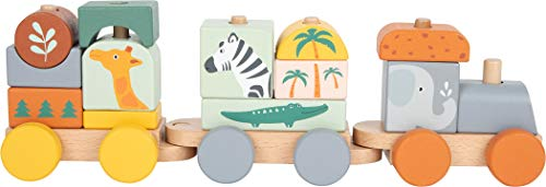 Small Foot 11698 Holzzug Safari, Steck-und Stapelspiel, pastellfarbig, ab 3 Jahren Toys