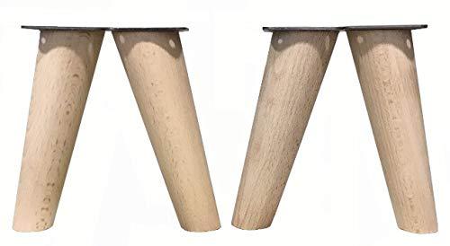 patas para muebles de madera. Patas inclinadas cónicas con placa de montaje ya instalada patas de madera para sofas mesitas armarios 15 cm alto (Crudo)