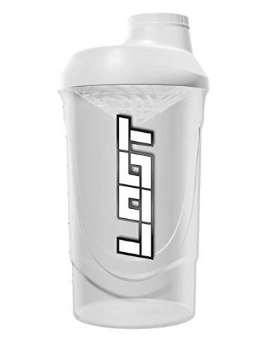 LOOT® - Shaker blanc classique 600 ml | transparent/blanc | Shaker protéiné avec bouchon à vis, tamis et échelle de mesure | Shaker fitness pour des shakes sans grumeaux | Sans BPA et DEHP