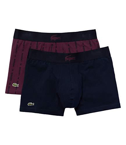 Lacoste Unterhosen Casual Cotton Stretch Trunks Boxers 5H3414 2er Pack, Farbe:Mehrfarbig, Wäschegröße:M, Artikel:-UXU Navy/Wine Print