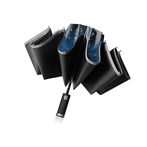 Paraguas invertido a prueba de viento del coche del viaje con las rayas reflectantes negro paraguas de lluvia viajar al aire libre