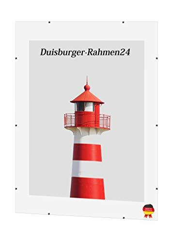 DR24 'Light' Cliprahmen Bilderrahmen Rahmenlos 48 x 64 cm mit MDF Rückwand und Anti-Reflex Kunstglasscheibe, maßgefertigter Rahmen ohne Rand für z.B. Fotos, Bilder, Poster oder Puzzles