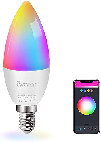 Lampadine intelligenti Alexa E14, Modalità musica Lampadina Smart WiFi Multicolore Dimmerabile a Risparmio Energetico Controllo Vocale, Telecomando, Timer, Nessun Hub Richiesto, Controllo App RGBCW