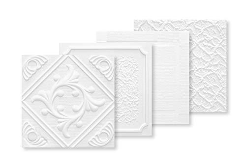 Deckenplatten aus Styropor - viele Designs 50x50cm EPS Wand- und Deckenverkleidung 1 qm weiße Platten Dekor formfest (FLORA)