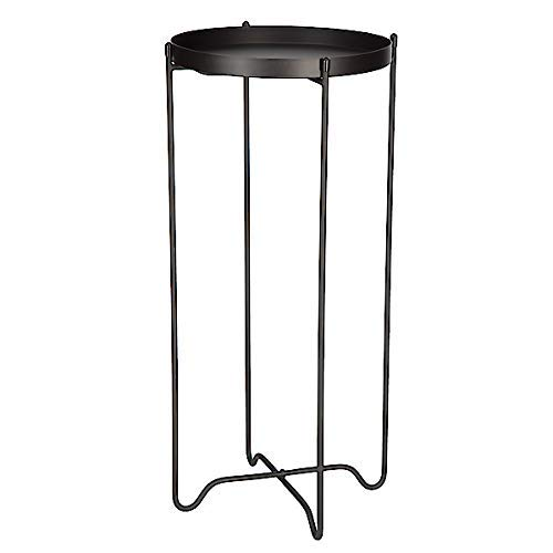 Clas Ohlson  Black Metal Round Pedestal Side Table Display Unit Console Plant Stand with Detachable Top Diameter 22cm Height 49.5cm Scandi Style