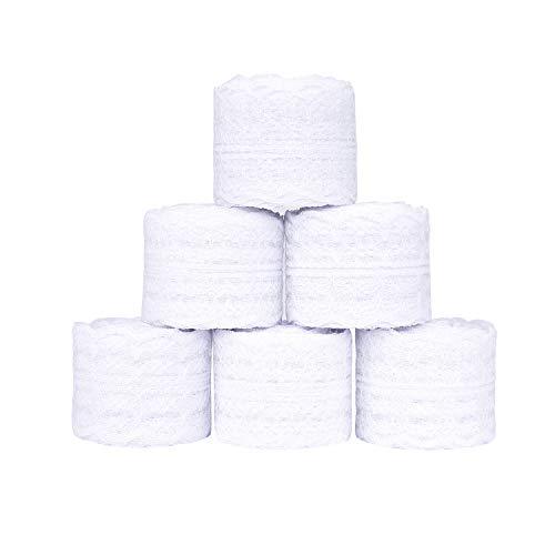 Cinta de Encaje 6 Rollos Blanco Floral Vintage Cordón de Ajuste de Encaje para Coser Manualidades Bricolaje y Nupcial de Boda para Decoración 10m / Cada Uno