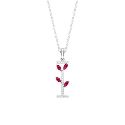 Rosec Jewels 10 quilates oro blanco marquesa redonda Red HI rubí artificial Diamond