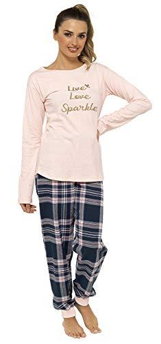 Damen Pyjama-Set, Flanell, mit Tragetasche, Pink / Marineblau Gr. 48/50 DE,...