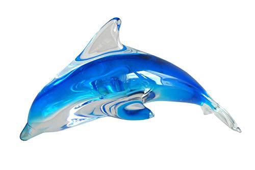 N / A Glasdelfin blau 16,5 cm Delfin Glas Delphin Figur Glasfigur Dekofigur Zierfigur