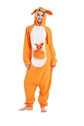 SSM Mono de pijama unisex para adultos, de peluche, mono, canguro, disfraz de animal, cosplay, Halloween, carnaval, oso L