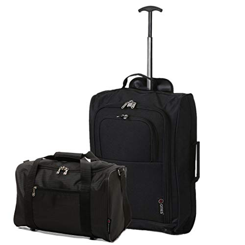 Set of 2 Hand Luggage Set Including Ryanair Cabin Approved 55x40x20cm Trolley Bag & 40x20x25 Ryanair Maximum Holdall Under Seat Flight Bag (Black + Black)