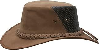 Conner Hats Men's Down Under Leather Breezer Hat, Mocha, L