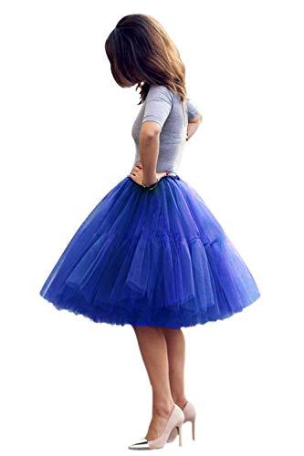 Women's A-line 50s Vintage Short Tutu Prom Party Skirt(Royal Blue,One Size)