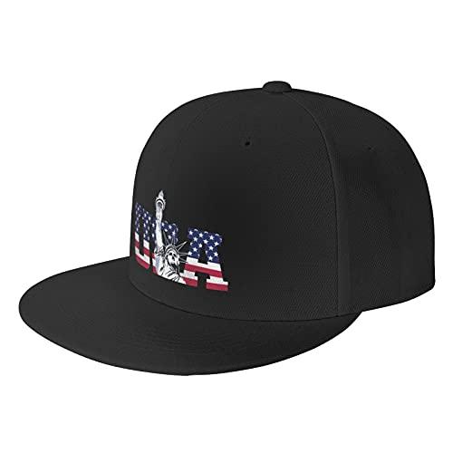 USA Liberty Black Baseball Cap Flat Hat Pop It Adjustable Fashion Hats Make The