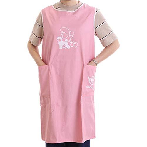 Markcur wasserdichte Haustierpflege Schürze Professionelle Groomer Schürze mit Tasche Küchenschürze Kochschürze für Erwachsene Pink