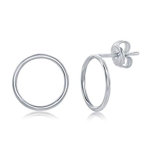 Sterling Silver Open Circle Stud Earrings