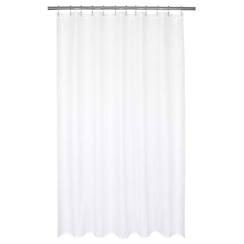 """Barossa Design Waterproof Fabric Shower Curtain or Liner 72"""" W x 92"""" H - Extra Long, Hotel Quality, Machine Washable, White Shower Liner for Bath Tub, 72x92 Inches"""