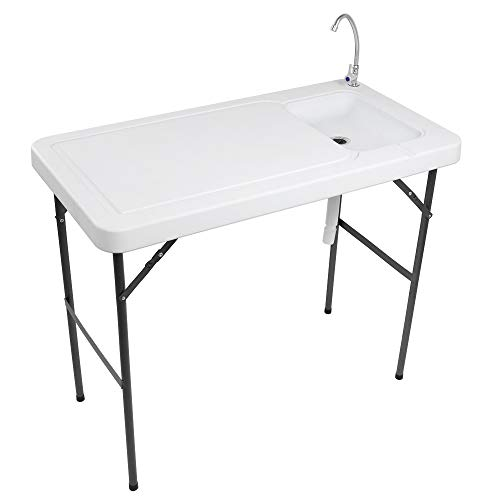 VINGLI Outdoor Folding Fish and Game Cleaning Table w/Sink  Portable & Durable, Standard Garden Connection, Upgraded Drainage Hose, Stainless Steel Faucet