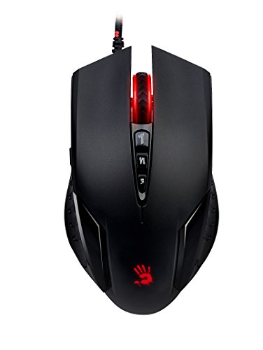 V3 Optical Precision PC Gaming Mouse with Improved Surface Handling, Ergonomic Grip Type, 8 Fully Programmable Buttons, 16-Grade Calibration Technology, Sniper Mode (Black, Red LED)