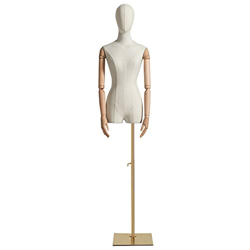 Barture Maniquí De Costura Busto Maniquies Mujer con Cabeza Y Brazos De Madera Maciza Base De Metal Altura Ajustable 3 Estilos para Exhibición De Ropa (Color : Square)
