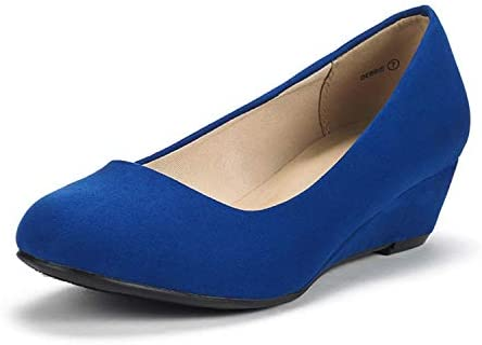 Royal blue wedges heels _image0
