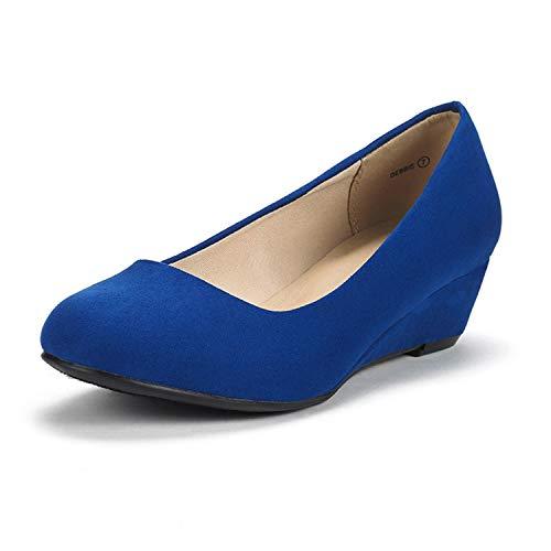DREAM PAIRS Women's Debbie Royal Blue Mid Wedge Heel Pump Shoes - 9.5 M US
