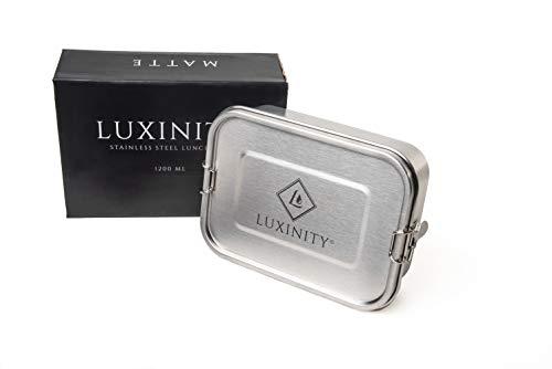 Luxinity® Edelstahl Lunchbox 1200ml, 100% Plastikfreie Brotzeitbox, Auslaufsicher, Brotdose mit Variabler Trennwand